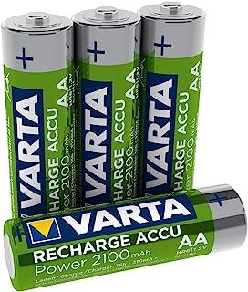 Varta 瓦尔塔 可充电池 即可使用 预充 AA 5 号镍氢电池(4 件装2100 mAh)可充电 无*效应 – 可直接使用 Blau, Grün AA / 2100mAh