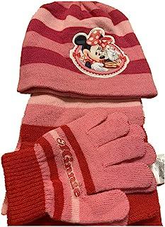 女孩手套 + 围巾 + 无檐*帽 + 耳拍米妮老鼠保暖套装 儿童卡通冬季柔软(2-8岁)