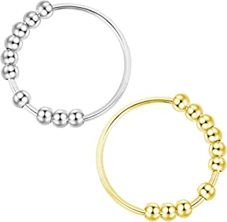女式 2 件Fidget Ring *戒指,串珠旋转戒指,精致极简主义戒指礼品,抗*戒指,男士无忧戒指