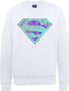 DC Comics 男式 DC0000916 官方超人玻璃标志圆领长袖运动衫