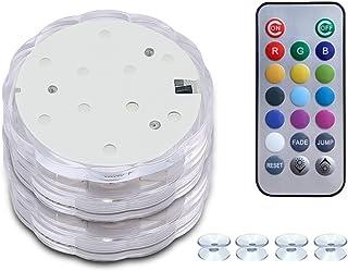 HouLight 潜水式 LED 灯,带吸盘,遥控器,2 件装防水浴缸灯,带变色 LED 灯,适用于热水浴缸、泳池、派对、万圣节、圣诞节和房间装饰