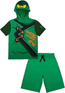 LEGO Ninjago 男孩忍者 Lloyd 和 Kai 服装短裤套装*和红色短裤和配套的服装连帽 T 恤