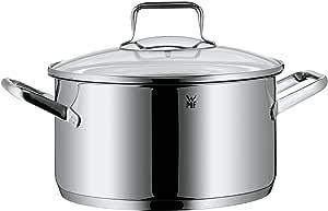 WMF 福腾宝 Trend炊具 直径24厘米 大约5.7升 德国制造 中空侧把手 玻璃盖Cromargan不锈钢拉丝,适用于所有炉灶,包括电磁炉,适用于洗碗机