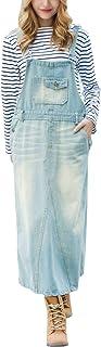 ebossy 女式超长水洗牛仔背带裤