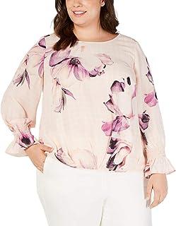 Alfani 女士加褶前褶裥衬衫 粉色 2X