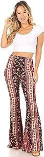 SWEETKIE 波西米亚喇叭裤,弹性腰围,女式阔腿裤,纯色印花,有弹力柔软 黑色紫色紫红色 10020 X-Large