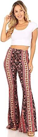 SWEETKIE 波西米亚喇叭裤,弹性腰围,女式阔腿裤,纯色和印花,弹性柔软 Black Purple Mauve 10020 Large