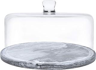 Galashield 大理石蛋糕架,带玻璃盖圆顶