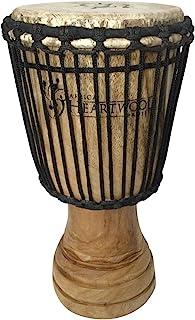 手工雕刻非洲金杯鼓-实木、山羊皮 - 加纳制造 - 20.32 x 40.64 厘米