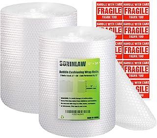 SONINLAW 泡泡缓冲包裹 适用于包装移动箱 30.48 cm 宽 x 91.44 cm 长 2 卷穿孔 每 30.48 cm 带 20 个易碎贴纸标签