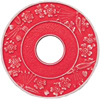 岩铸 Iwachu 釜敷 丸樱花 大 银/红梅色 鲑鱼13.5cm 南部铁器 17304