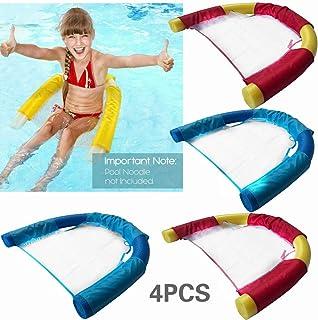 趣味泳池浮舟 – 适合儿童和成人的泳池浮鞋,面条吊带,儿童超棒面条泳池玩具,吊带网眼椅适用于泳池面条,网眼剪裁,泳池面泡棉(4 件装)(不含面条)