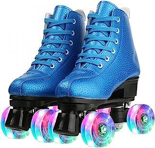 Buric 成人蓝色 PU 皮革溜冰鞋 适合初学者 高帮双排溜冰鞋 男女通用 室内户外