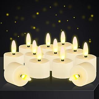 LED 茶灯蜡烛 无焰闪烁 3D 灯芯灯 明亮电池供电 舞蹈蜡烛灯装饰 派对情人节万圣节圣诞节(12 件,电池供电)