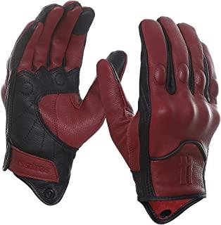Harssidanzar 男士全指山羊皮革触摸屏摩托车手套* GM028US,深灰色/黑色,尺码 L