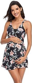 ASHER FASHION 女式挂脖孕妇分体泳衣露背 V 领上衣和平角短裤两件套泳衣 S-XXL 码