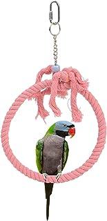 悬挂宠物鸟笼吊床鸟秋千玩具,圆形鹦鹉笼栖息地,棉绳鸟笼配件适用于小型中非洲灰色鹦鹉锥体可爱的鹦鹉Budgie Budgerigar