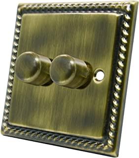 Georgian 古铜色 2 帮调光器 400W - 10 安双 2-Gang 双向 400 瓦光电开关