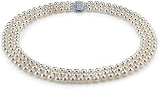 THE PEARL SOURCE 标准纯银 AAA 级质量三股白色淡水养殖珍珠项链 女式