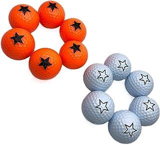 JKL Stars 高尔夫练习球,彩色练习球,高尔夫标准球训练球,适用于高尔夫初学者高尔夫球(白色/橙色高尔夫球)