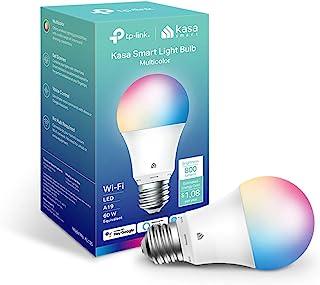 新款 Kasa 智能灯泡,全色变换可调光智能 WiFi 灯泡兼容 Alexa 和 Google Home,A19,9W 800流明,仅限 2.4GHz,无需集线器,1 件装 (KL125),多色..
