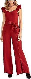 Rachel Roy 女式栗色荷叶边腰带拉链盖袖鸡心领宽腿派对连衣裤尺码 XXL