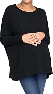 Xpenyo 孕妇毛衣垂褶一字领蝙蝠袖蝙蝠袖针织孕妇套头衫女式上衣 S-XL 码
