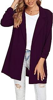 女式 Blazers 褶饰长袖缺口翻领单扣休闲工作办公室西装外套