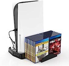 P5-010-2 适用于 Playstation 5 主机冷却底座,冷却风扇底座 + PS5 控制器双充电底座,带 LED 指示灯 + 16 个游戏存储盘支架,3 个 USB 端口适用于 PS5 DE/UHD (黑色)