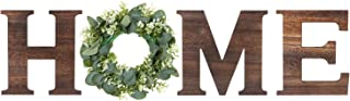 beyonday 乡村木字母墙壁装饰,木制家庭字母与人造桉树,客厅房屋装饰墙饰标志,9.8 英寸高 x 8.5 英寸宽 (棕色)