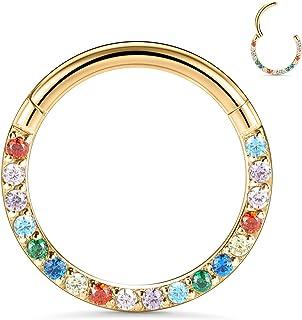 FUNLMO 16G CZ Septum Jewelry 鼻环 3l6L 不锈钢 Daith 软骨 耳屏 耳环 螺旋 Rook 舒适穿孔珠宝
