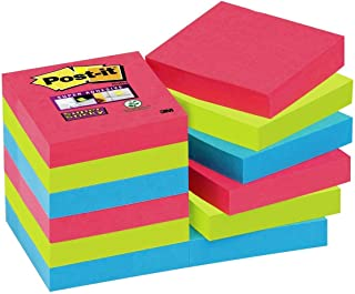 Post-It 彩色便签纸,12 件装粘便利贴,彩色胶便签和便签纸,用于办公室和学生的便笺,12 块,每块 90 张邮递,47.6 x 47.6 毫米