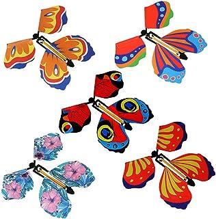 Dzrige 5 件套魔法飞行蝴蝶橡胶乐队仙女飞行蝴蝶动力发条玩具适合惊喜礼物或派对和生日