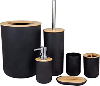 浴室配件套装,6 件塑料浴室配件套装 带皂液器,牙刷架,平底杯子,肥皂盘,垃圾桶,带支架的马桶刷