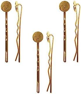 Beadaholique 6 片装金属波比别针,带胶垫子,10 毫米,22k 金色