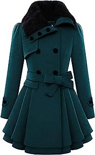 zeagoo 蒸气女式双排扣短款风衣外套带腰带