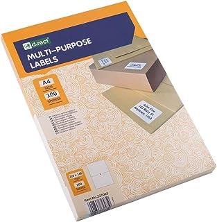D.RECT 粘性标签 通用标签 ( 210 × 148毫米 DIN A4 ) 可打印 自粘 100页 / 包装 2个标签 / 张 200张 白色