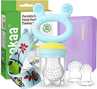 婴儿水果食品喂食器安抚奶嘴 - Haakaa 硅胶喂食器和婴儿牙胶*自食,不含 BPA 出牙舒缓玩具,带牙胶夹和旅行盒