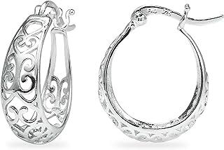 Ice 海纯银高抛光心形花丝椭圆形环状耳环