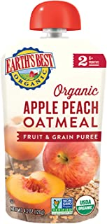 Earth's Best 婴儿苹果和桃子燕麦片,2段(6个月以上),120g袋装,12袋装