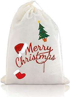Chielor 25 件纯棉平纹细布袋 - 9.8 x 7.9 英寸(约 24.9 x 19.0 厘米)环保抽绳袋,可反复使用,工艺品,茶,香料,肥皂,珠宝,手工品,派对,装饰和礼品,适合家庭用品