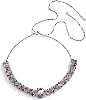 Salircon 冰花链项链水钻颈链古巴链男士女士闪亮珠宝
