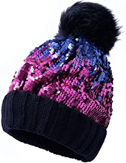 女式冬季黑色粉色闪亮针织无檐小便帽,带人造毛皮绒球保暖亮片针织骷髅帽