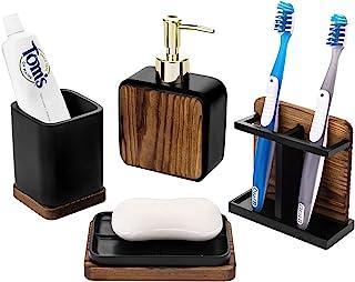 MyGift 4 件套现代深棕色烧木浴室配件套装带黄铜色液体洗手液器泵、牙刷架、肥皂碟和杯子