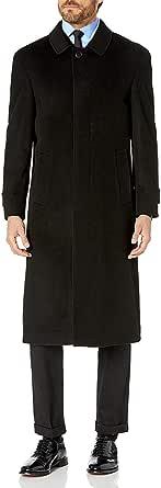 Prontomoda 男士单排扣黑色奢华羊毛/羊绒全长冬季外套