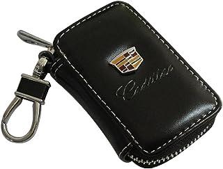 Cview 新款汽车钥匙钱包拉链包黑色皮革汽车房屋办公室钥匙链硬币夹金属挂钩包系列 适用于凯迪拉克汽车汽车汽车汽车爱好者