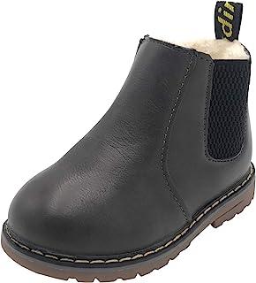 女童切尔西靴侧拉链平底及踝靴,带弹性侧标签 Grey With Lined 6 幼儿