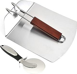 披萨皮不锈钢披萨桨 - 超不锈钢披萨刀轮,9.5 英寸 x 13 英寸披萨铲,带可折叠木制手柄,美味奢华披萨桨,用于烘焙自制披萨面包