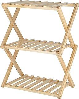 Fujiboeki 不二贸易 折叠架 宽45厘米 高62厘米 自然色 3层 木制 内盒兼容 72154