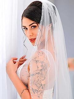 Asooll 珍珠新娘面纱 带梳子 水晶婚礼薄纱面纱 1 层发饰 新娘